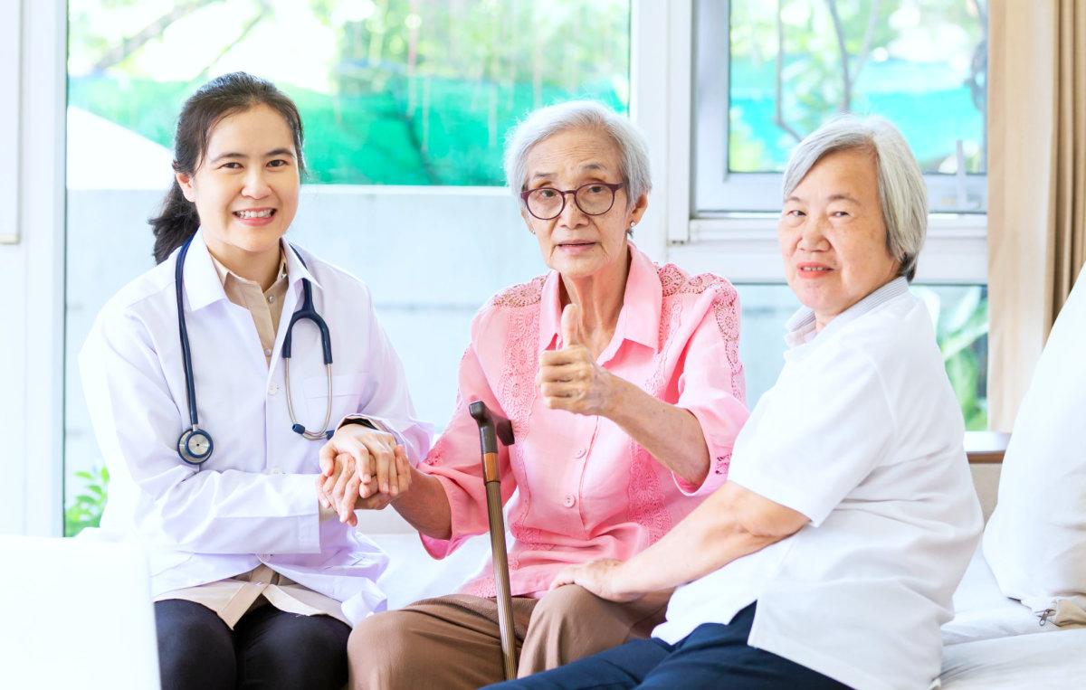 senior women with a nurse