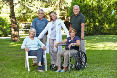 a physician with a group of seniors